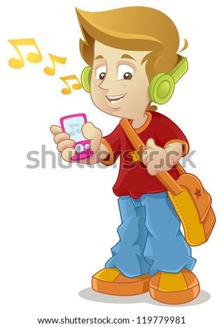 School Kid listening to music player