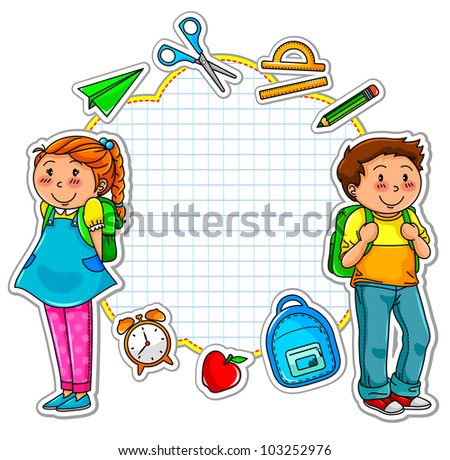 school kids and a set of school related items (vector available in my gallery)
