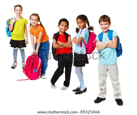 School kids group, over white - stock photo