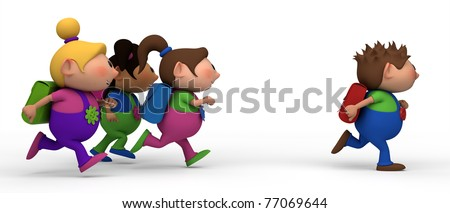 school kids running from left to right - three girls chasing a boy - back to school concept