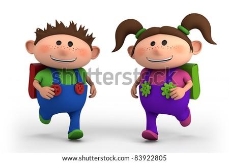school kids running -  - high quality 3d illustration