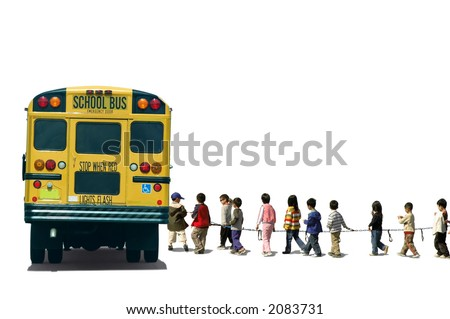 School kids (students) boarding a school bus