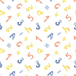 School letters and numbers on a white background. Watercolor seamless pattern
