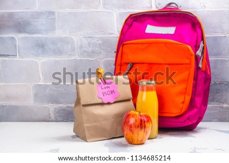 School lunch box and pink backpack on white background