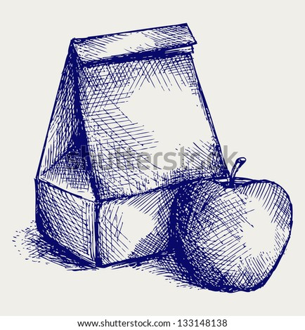 School lunch. Paper bag and apple. Doodle style. Raster version