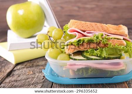 school lunch with sandwich