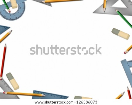 school math tools illustration isolated on white background
