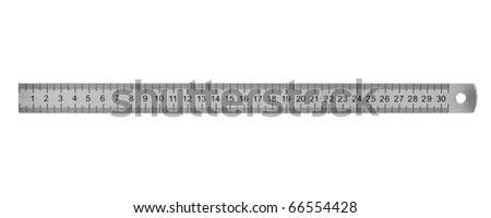 School metal ruler isolated on white background