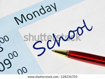 School note in the agenda
