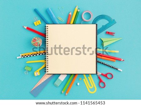 School notebook and stationery. Back to school creative, abstract, concept background. #1141565453