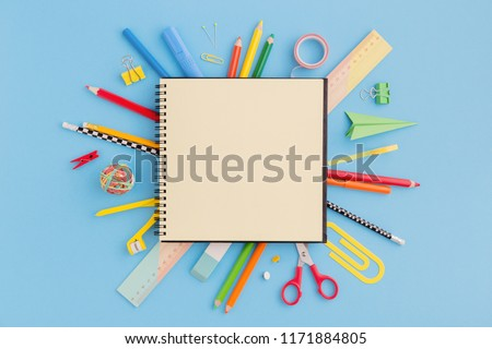 School notebook and various stationery. Back to school concept. #1171884805