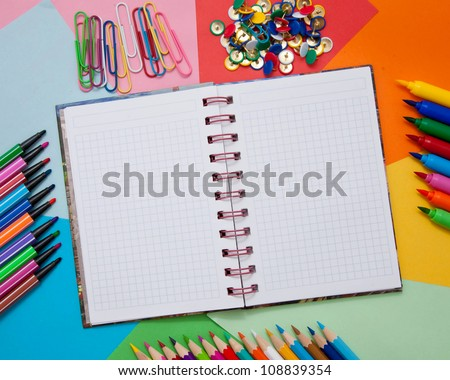 School Office Or Artistic Accessories Open Notebook Colored – Colored Writing Paper