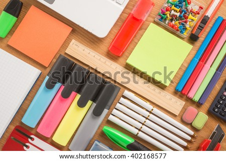 School office supplies on a desk   stock photo