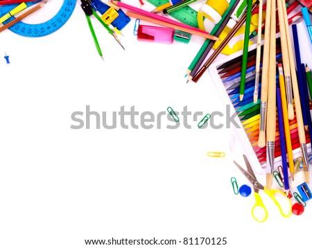 School  office supplies. Writing utensils