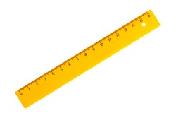 School ruler in centimeters on a white background, close-up, isolate.