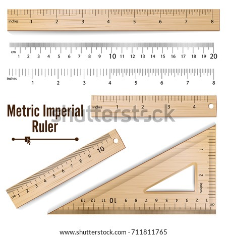 School Rulers. Realistic Classic Wooden Metric Imperial Ruler. Centimeter And Inch. Measure Tools Equipment Isolated On White Illustration
