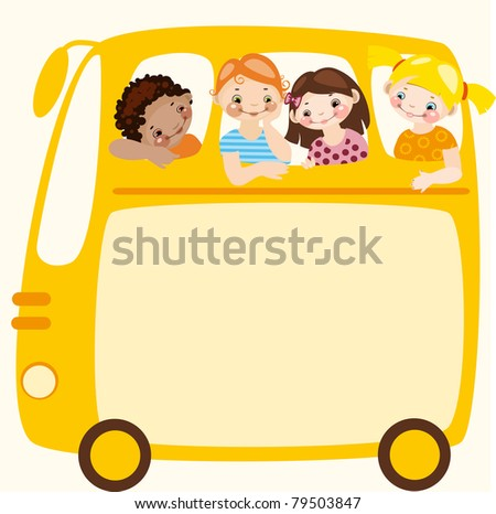 School schedule. yellow school bus. place for your text. Raster version. vector in portfolio