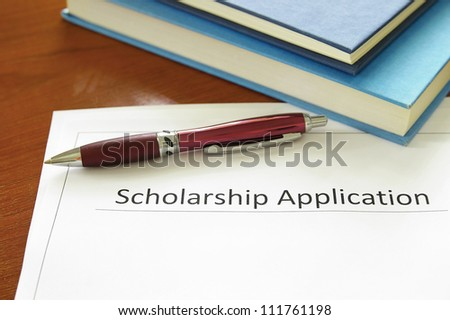 school scholarship application form and books