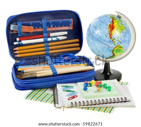 school set things, Back to School concept,  isolated over white background