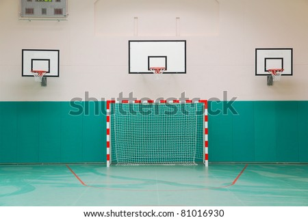 School sports hall: three basketball boards and gate