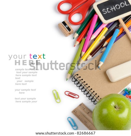 School stationery isolated over white with copyspace - stock photo
