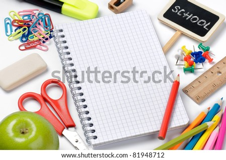 School stationery isolated with notebook copyspace