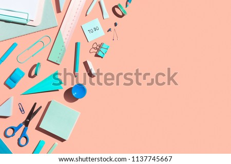 School stationery on a pink background. Back to school creative illustration, template. #1137745667