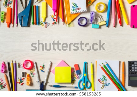 School stationery supplies, wide copy-space in the centre stock photo
