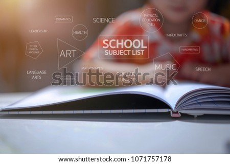 School subject list texts with kindergarten kid background, she was sitting and reading a book on white table.