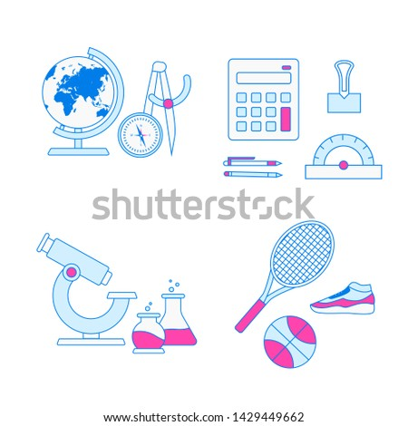 School subjects collection. Education objects set.