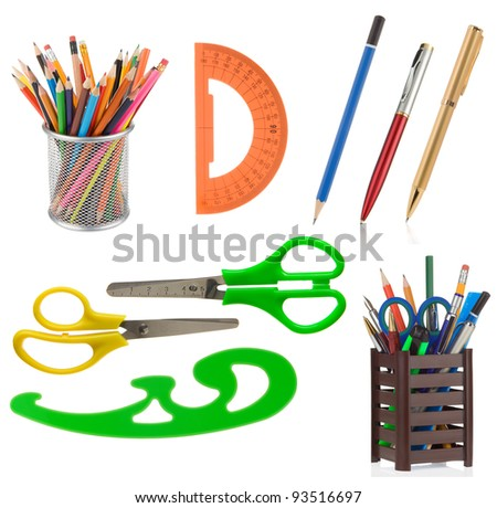 school supplies and accessories isolated on white background