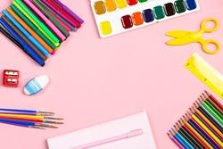 School supplies arrangement. Back to school concept, copy space