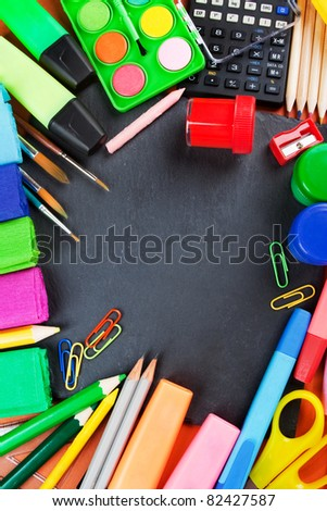 School supplies, background with copy space.