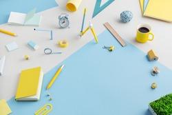 School supplies, creative flat lay desk.