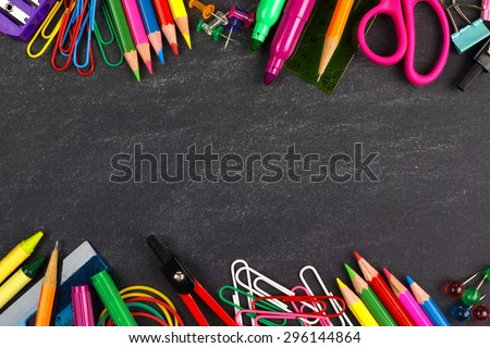 School supplies double border on a chalkboard background