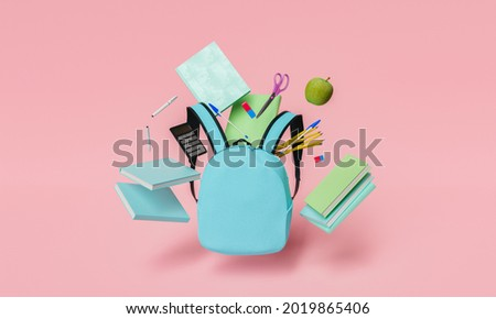 school supplies floating in the air with blue backpack in foreground and red pastel background. back to school and education concept. 3d rendering