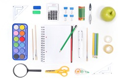 School supplies isolated on white background. Back to school concept