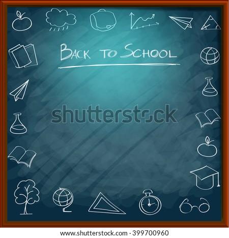 School supplies on blackboard background ready for design