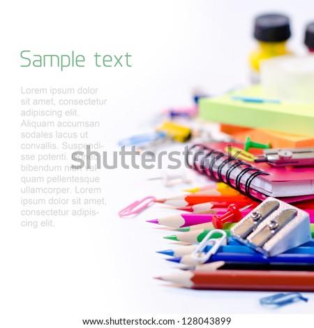 School supplies on white background