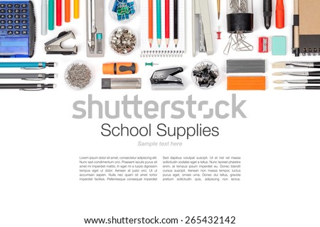 school supplies on white background top view stock photo