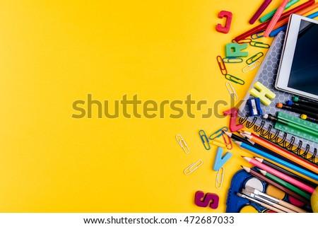 School supplies on yellow background Foto stock ©