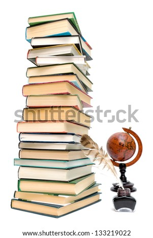 school supplies. pen in the ink, a large stack of books and a globe on a white background.