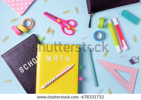 school supplies. pink and blue colors. flat lay composition #678331732