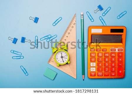 School supplies used in math class, geometry or science. Mathematics geometry tool for student in math class with copy space for text and isolated on white background. Mathematics concept Photo stock ©
