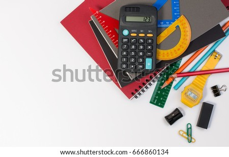 School supplies used in math class, geometry or science. Mathematics geometry tool for student in math class with copy space for text and isolated on white background. Mathematics concept. Top view.