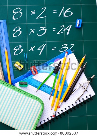 School supplies with formula. Multiplication table on board