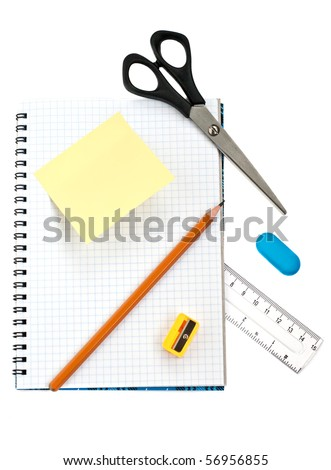 School supply set isolated on the white