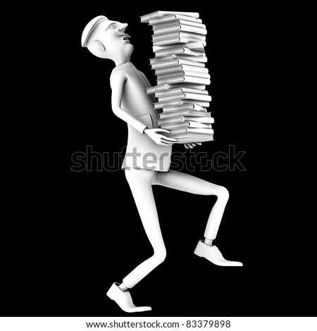 School teacher carryng a pack of history books