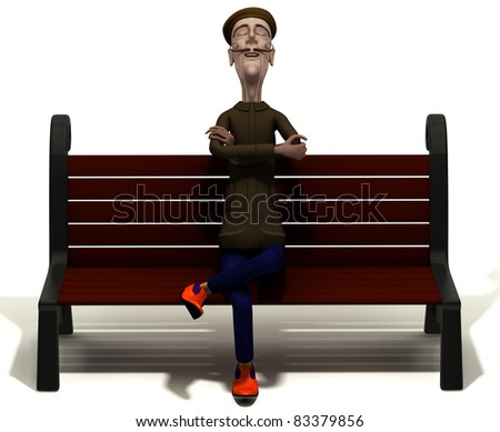 School teacher enjoys today weather on brown bench