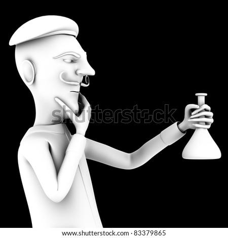 School teacher thinking about liquid in test tube